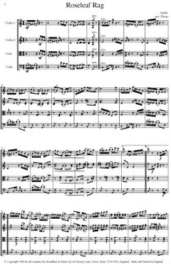 Joplin - Roseleaf Rag (String Quartet Score) - Score Digital Download