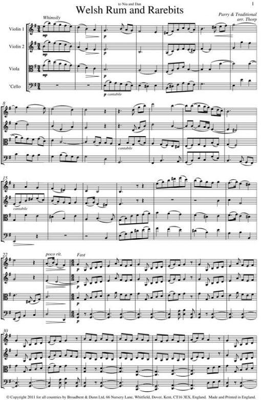 Traditional & Parry - Welsh Rum and Rarebits (String Quartet Parts) - Parts Digital Download