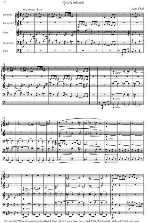 Alan Civil - Dance Suite (Brass Quintet) - Parts Digital Download