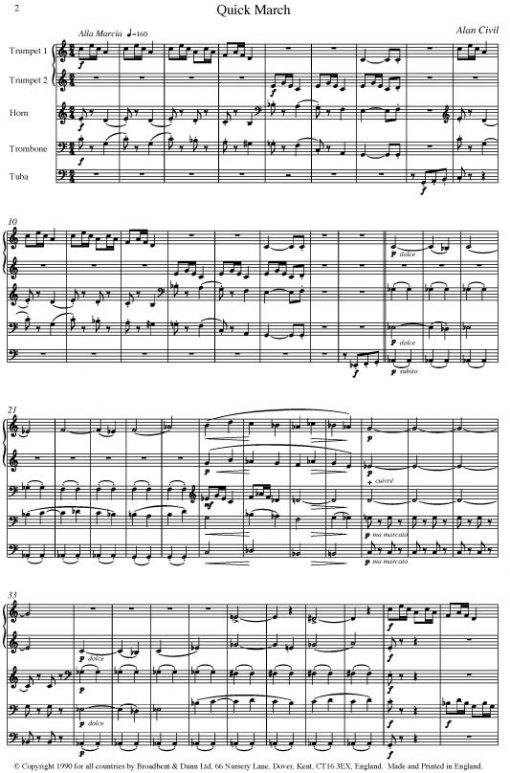 Alan Civil - Dance Suite (Brass Quintet) - Score Digital Download