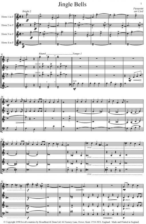 Pierpoint - Jingle Bells (Horn Quartet) - Score Digital Download