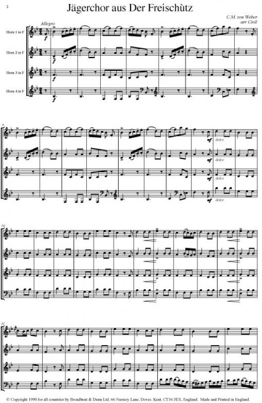 Weber - Hunting Chorus from Der Freischà¼tz (Horn Quartet) - Parts Digital Download