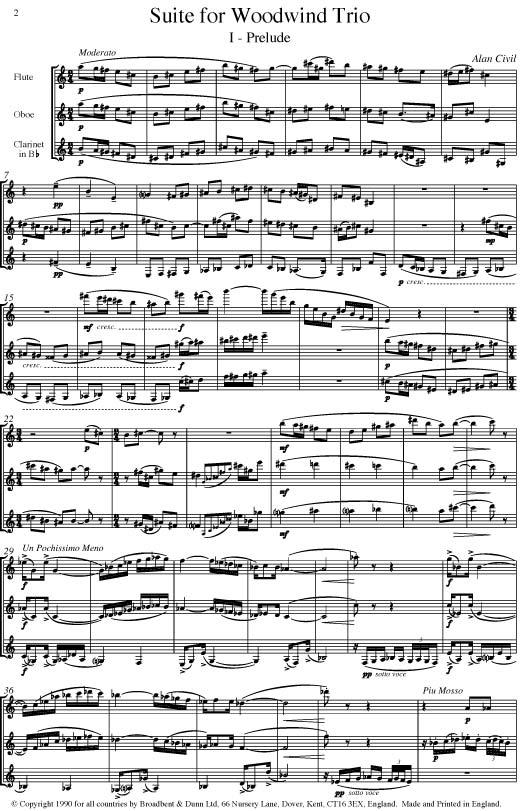 Alan Civil - Suite for Woodwind Trio (Flute, Oboe & Clarinet) - Parts  Digital Download