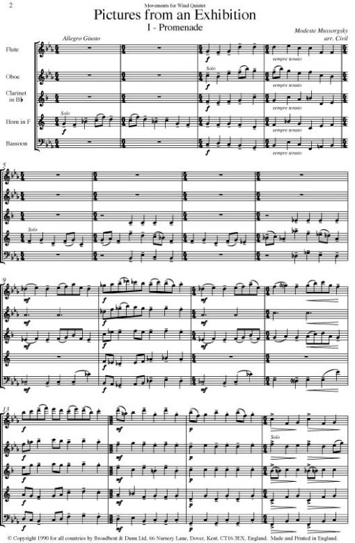Mussorgsky - Pictures from an Exhibition (Wind Quintet) - Score Digital Download
