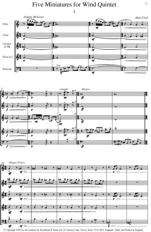 Alan Civil - Five Miniatures (Wind Quintet) - Parts Digital Download
