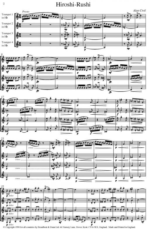 Alan Civil - Hiroshi-Rushi (Trumpet Quartet) - Score Digital Download
