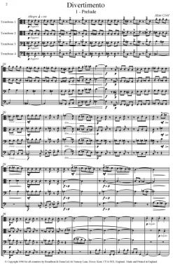 Alan Civil - Divertimento (Trombone Quartet) - Score Digital Download