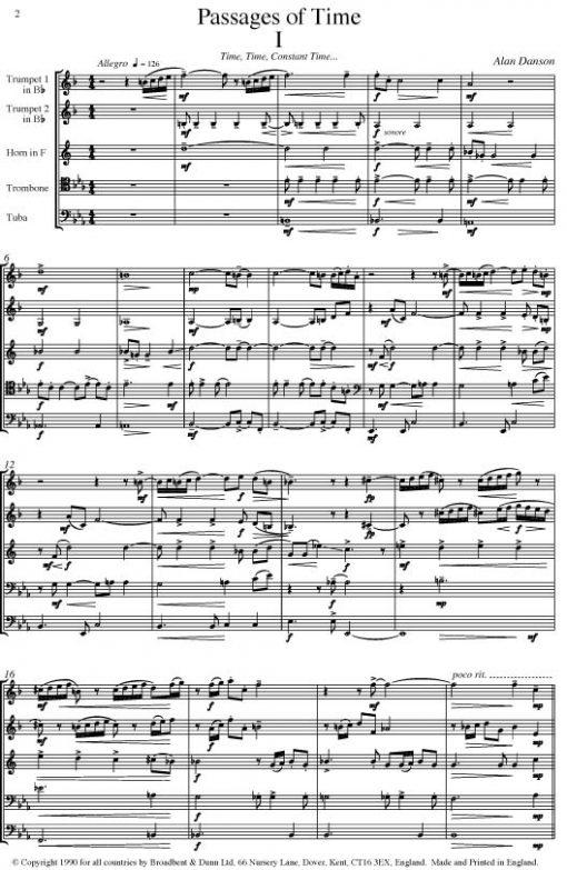 Alan Danson - Passages of Time (Brass Quintet) - Score Digital Download