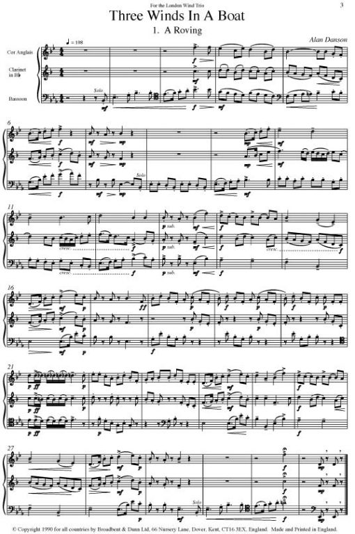 Traditional - Three Winds In A Boat (Cor Anglais/Oboe
