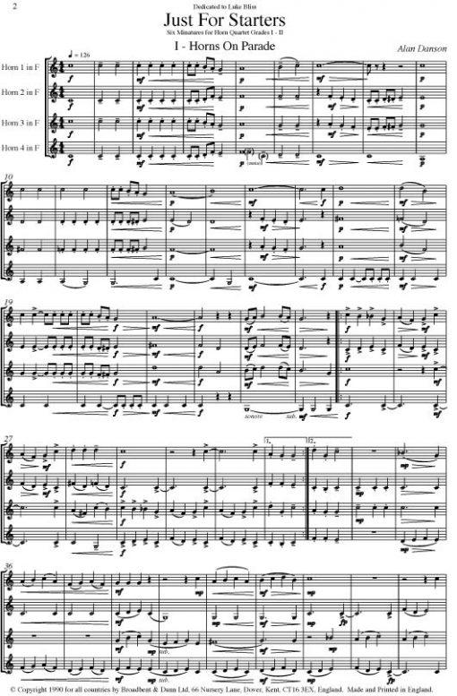 Alan Danson - Just For Starters (Horn Quartet) - Parts Digital Download