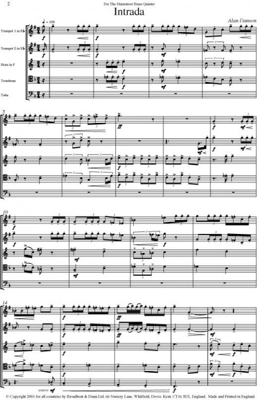 Alan Danson - Intrada (Brass Quintet) - Parts Digital Download