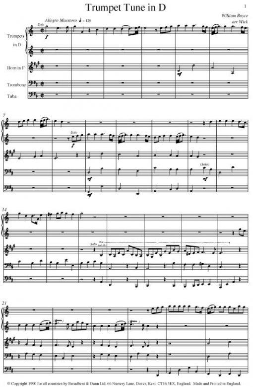 Boyce - Trumpet Tune in D (Brass Quintet) - Score Digital Download
