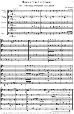 Dowland - Dances from Lachrimae (Brass Quintet) - Score Digital Download