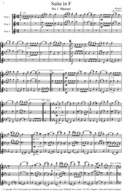 Handel - Three Water Music Suites (Flute Trio) - Score Digital Download