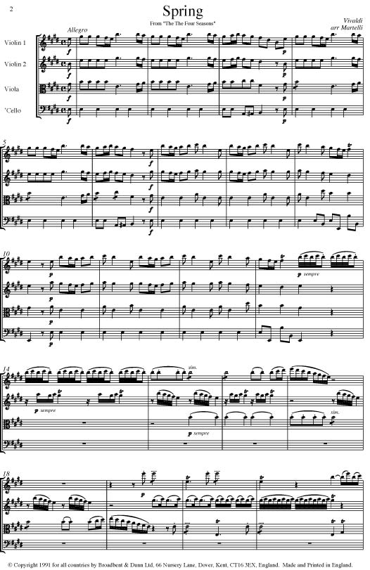 Vivaldi Spring From The Four Seasons Opus 8 No1 String Quartet Score Score Digital Download