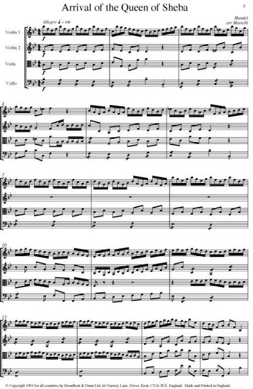 Handel - Arrival of the Queen of Sheba from Solomon (String Quartet Parts) - Parts Digital Download
