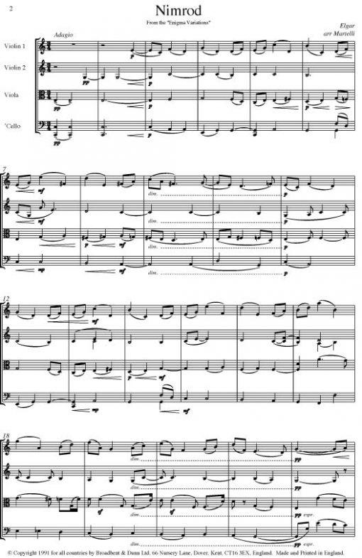 Elgar - Nimrod from Enigma Variations (String Quartet Score) - Score Digital Download