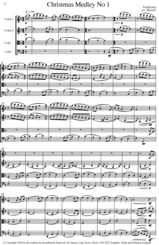 Traditional - Christmas Medley One (String Quartet Score) - Score Digital Download