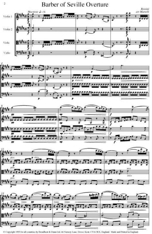 Rossini - The Barber of Seville Overture (String Quartet Score) - Score Digital Download