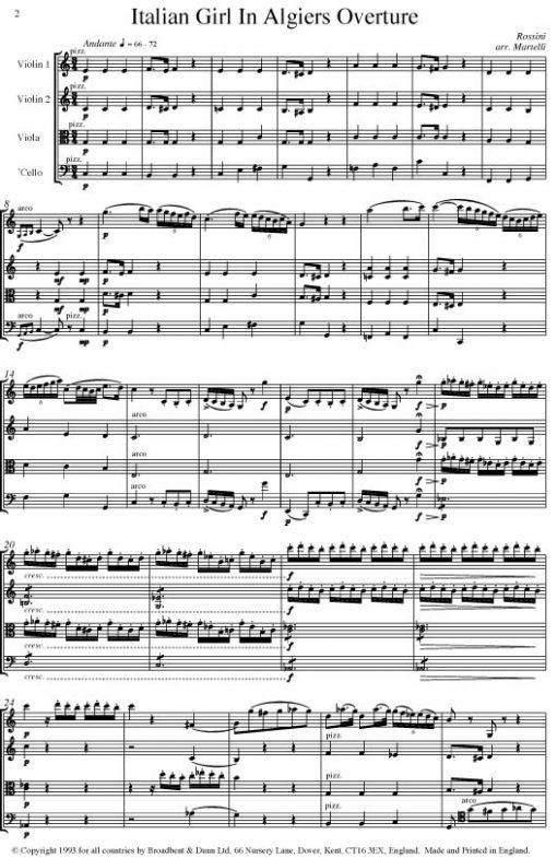 Rossini - The Italian Girl in Algiers Overture (String Quartet Score) - Score Digital Download