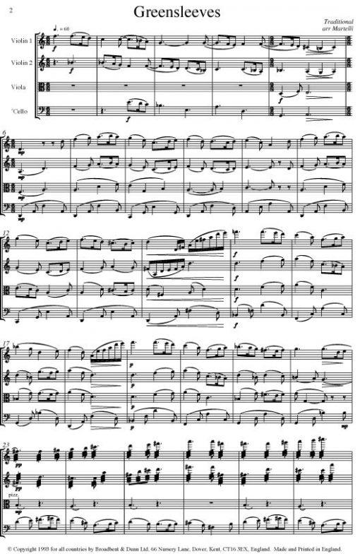 Traditional - Greensleeves (String Quartet Score) - Score Digital Download