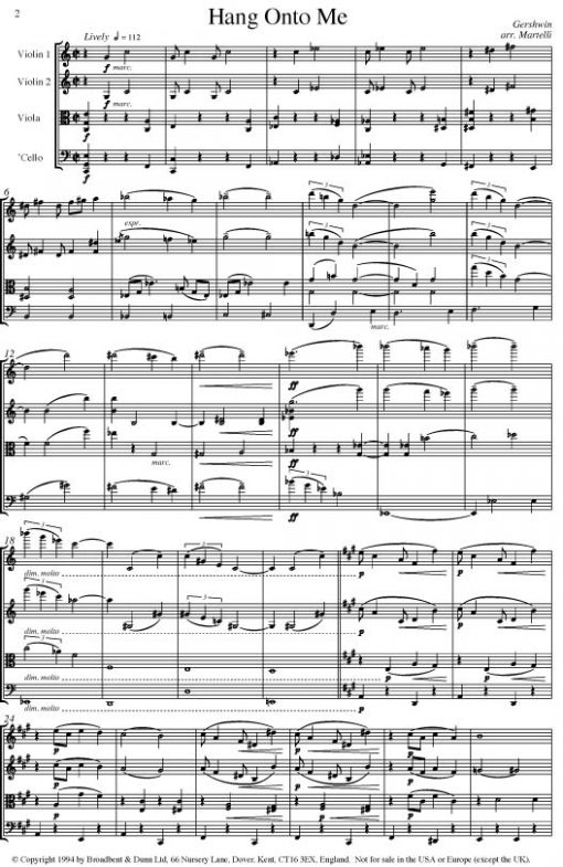 Gershwin - Hang Onto Me (String Quartet Score) - Score Digital Download