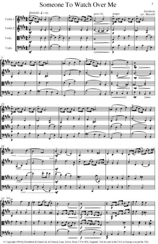 Gershwin - Someone To Watch Over Me (String Quartet Score) - Score Digital Download