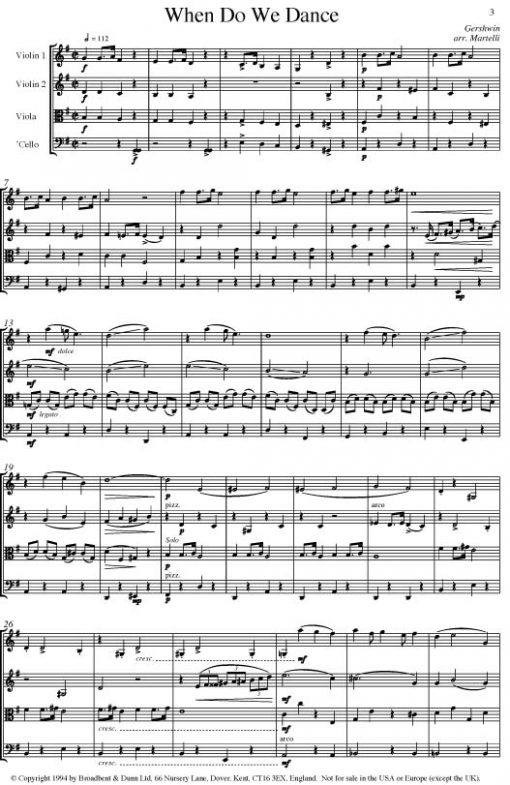 Gershwin - When Do We Dance (String Quartet Parts) - Parts Digital Download