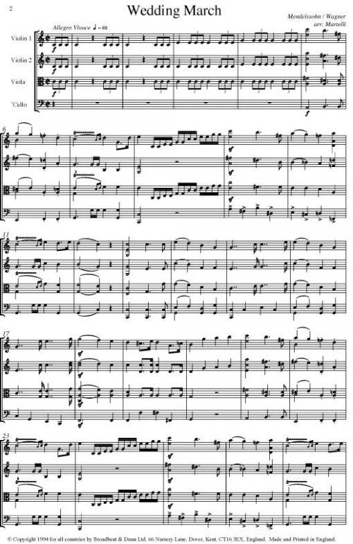 Mendelssohn & Wagner - Wedding March (String Quartet Parts) - Parts Digital Download