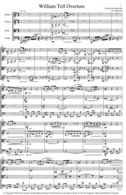 Rossini - William Tell Overture (String Quartet Parts) - Parts Digital Download