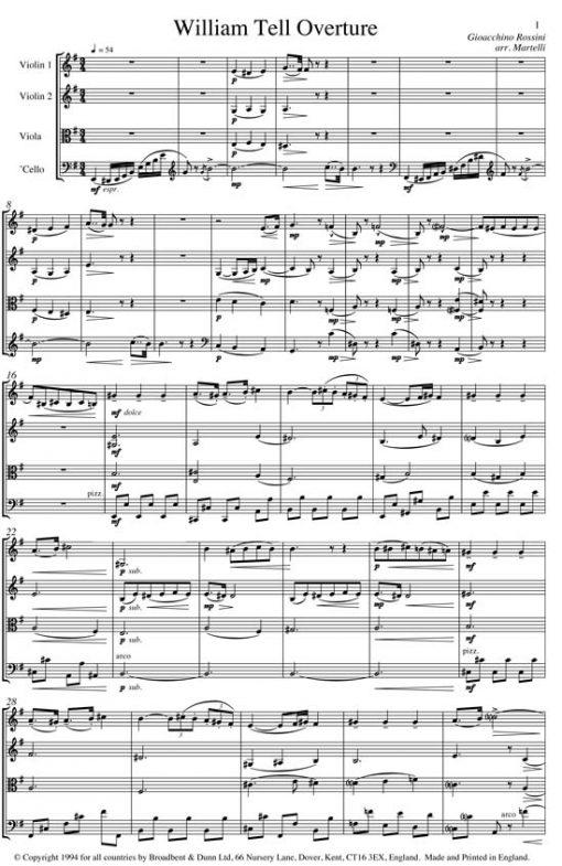 Rossini - William Tell Overture (String Quartet Parts) - Parts Digital Download