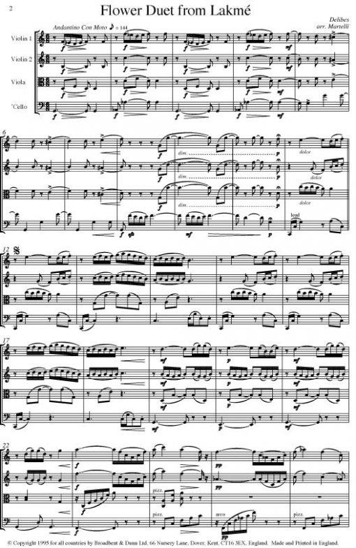 Delibes - Flower Duet from Lakmé (String Quartet Parts) - Parts Digital Download