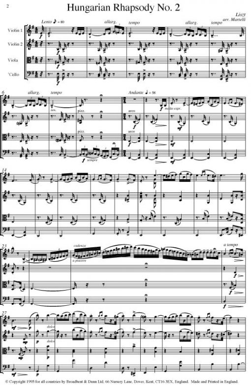Liszt - Hungarian Rhapsody No. 2 (String Quartet Parts) - Parts Digital Download