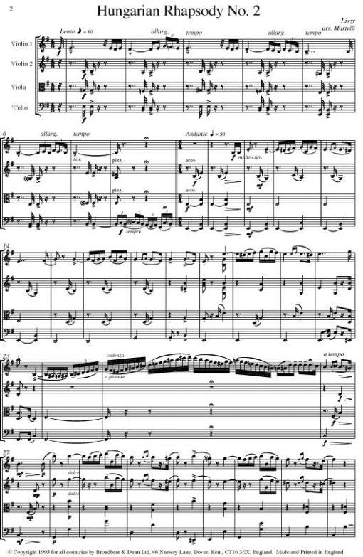 Liszt - Hungarian Rhapsody No. 2 (String Quartet Score) - Score Digital Download