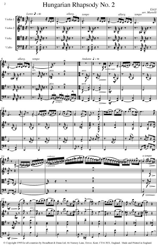 Liszt - Hungarian Rhapsody No  2 (String Quartet Score) - Score Digital  Download