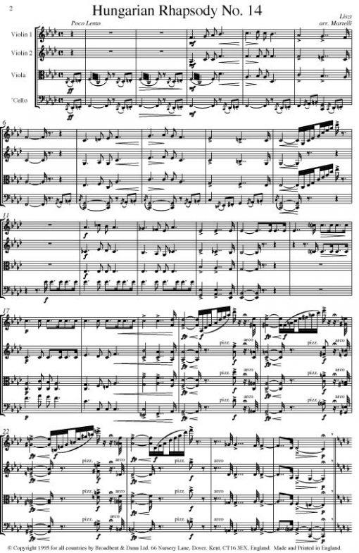 Liszt - Hungarian Rhapsody No. 14 (String Quartet Parts) - Parts Digital Download