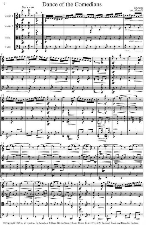 Smetana - Dance of the Comedians from The Bartered Bride (String Quartet Score) - Score Digital Download