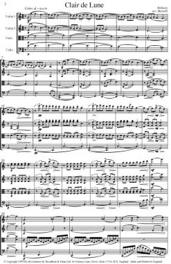Debussy - Clair de Lune from Suite Bergamasque (String Quartet Score) - Score Digital Download