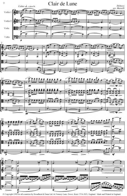 Debussy - Clair de Lune from Suite Bergamasque (String Quartet Score) - Score Digital Download