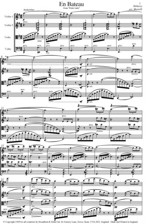 Debussy - En Bateau from Petite Suite (String Quartet Score) - Score Digital Download