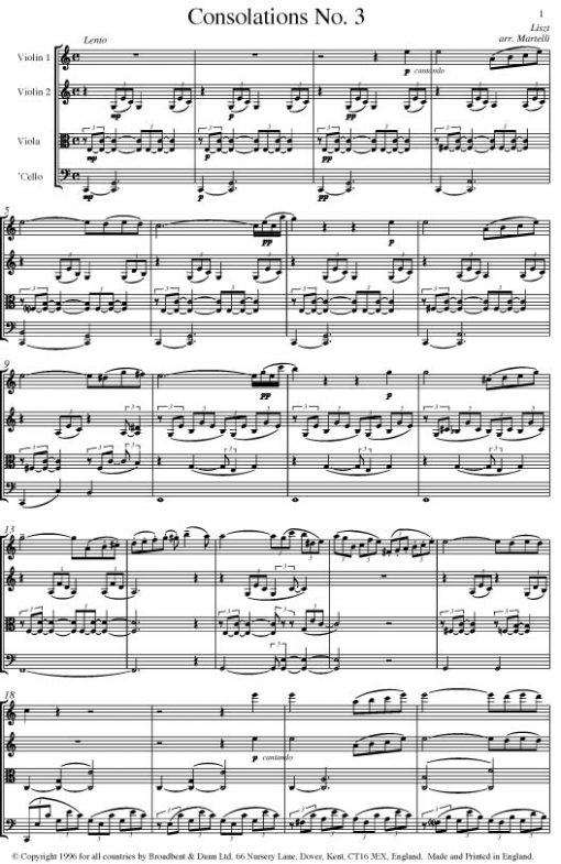 Liszt - Consolations Numbers 3 and 4 (String Quartet Score) - Score Digital Download