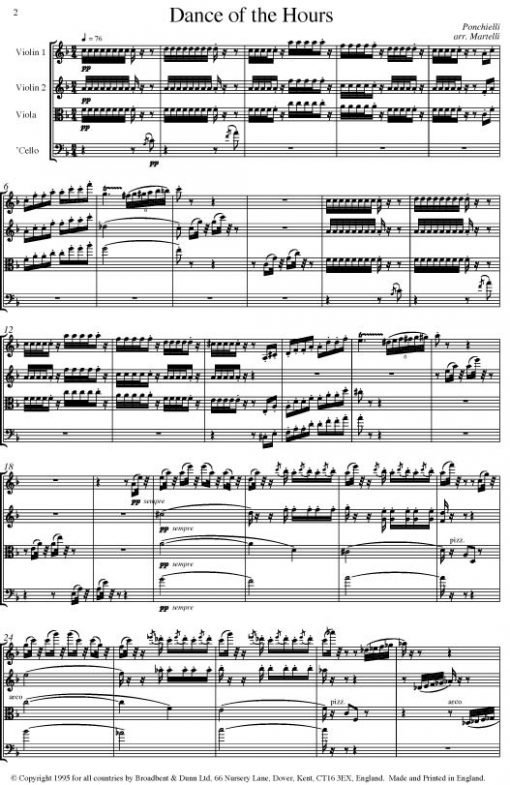 Ponchielli - Dance of the Hours (String Quartet Parts) - Parts Digital Download