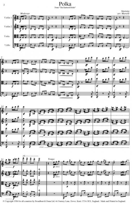 Smetana - Polka from The Bartered Bride (String Quartet Parts) - Parts Digital Download