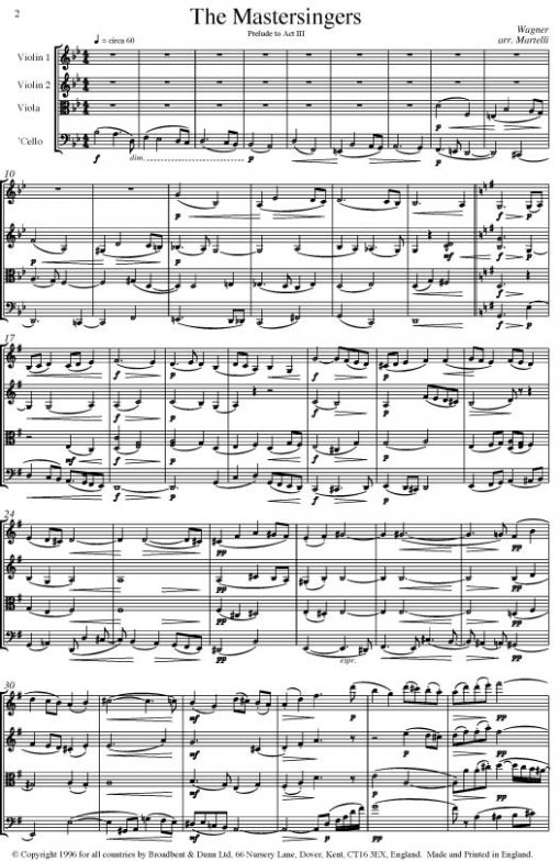 Wagner - Prelude to Act III of The Mastersingers of Nuremberg (String Quartet Score) - Score Digital Download