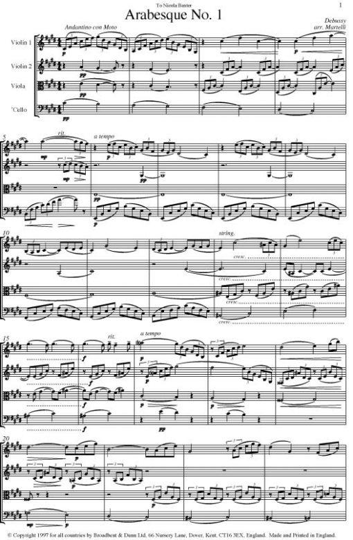 Debussy - Arabesque No. 1 (String Quartet Score) - Score Digital Download