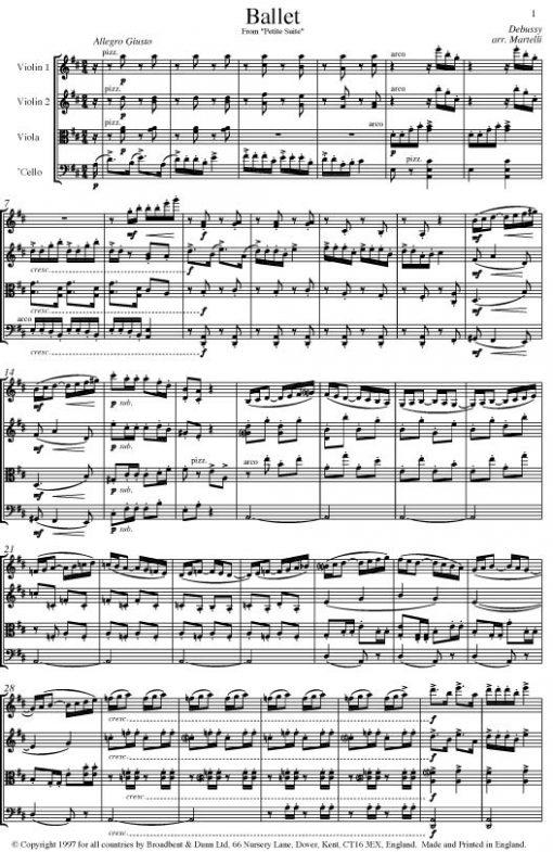 Debussy - Ballet from Petite Suite (String Quartet Parts) - Parts Digital Download
