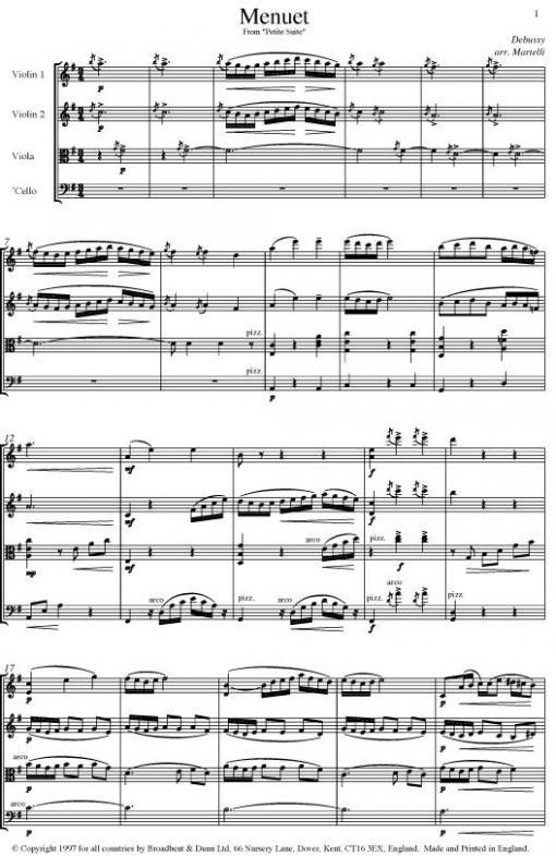 Debussy - Menuet from Petite Suite (String Quartet Parts) - Parts Digital Download