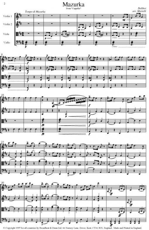 Delibes - Mazurka from Coppélia (String Quartet Score) - Score Digital Download