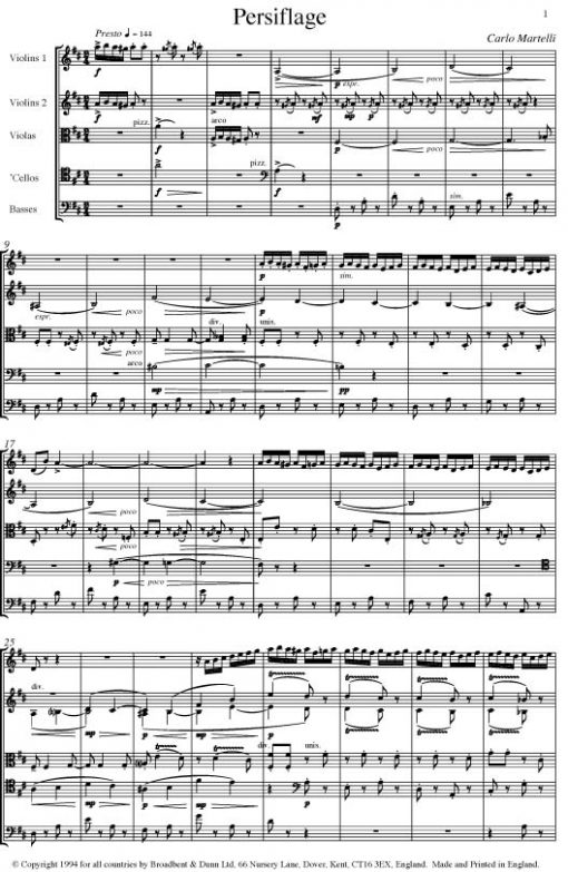 Carlo Martelli - Persiflage for String Orchestra - First Violins Digital Download