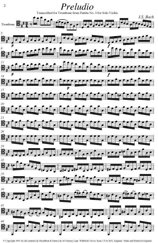 Bach - Solo Preludio from Partita No  3 for Violin (Solo Trombone) -  Digital Download
